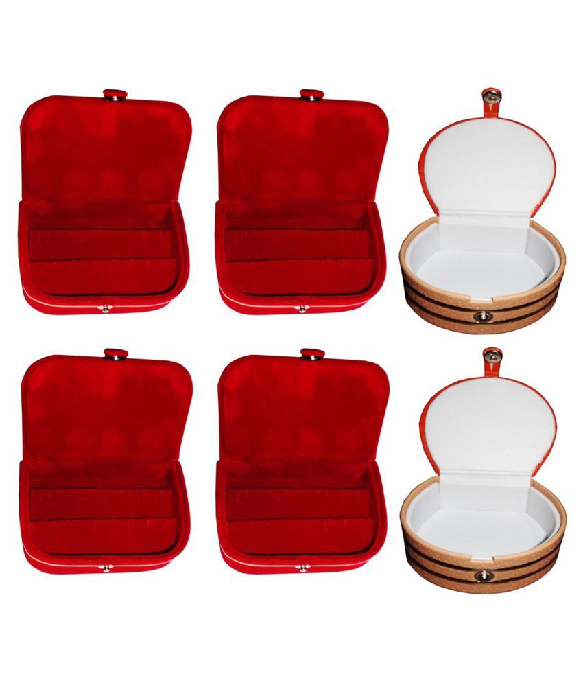 Sarohi Combo 2 pc red earring box 2 pc red ear ring folder 2 pc bangle box jewelry vanity case