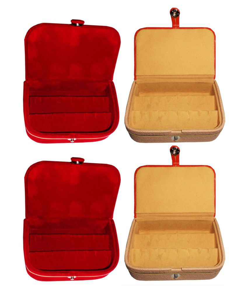 Sarohi Combo 2 pc red earring box and 2 pc brown ear ring folder vanity case
