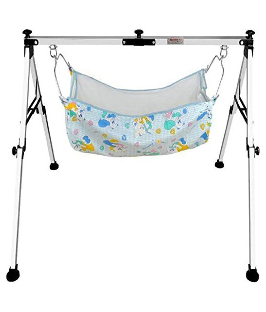 Fully Folding Stainless Steel Ghodiyu (Baby Cradle) with Cotton Hammock (Silver) (Black)