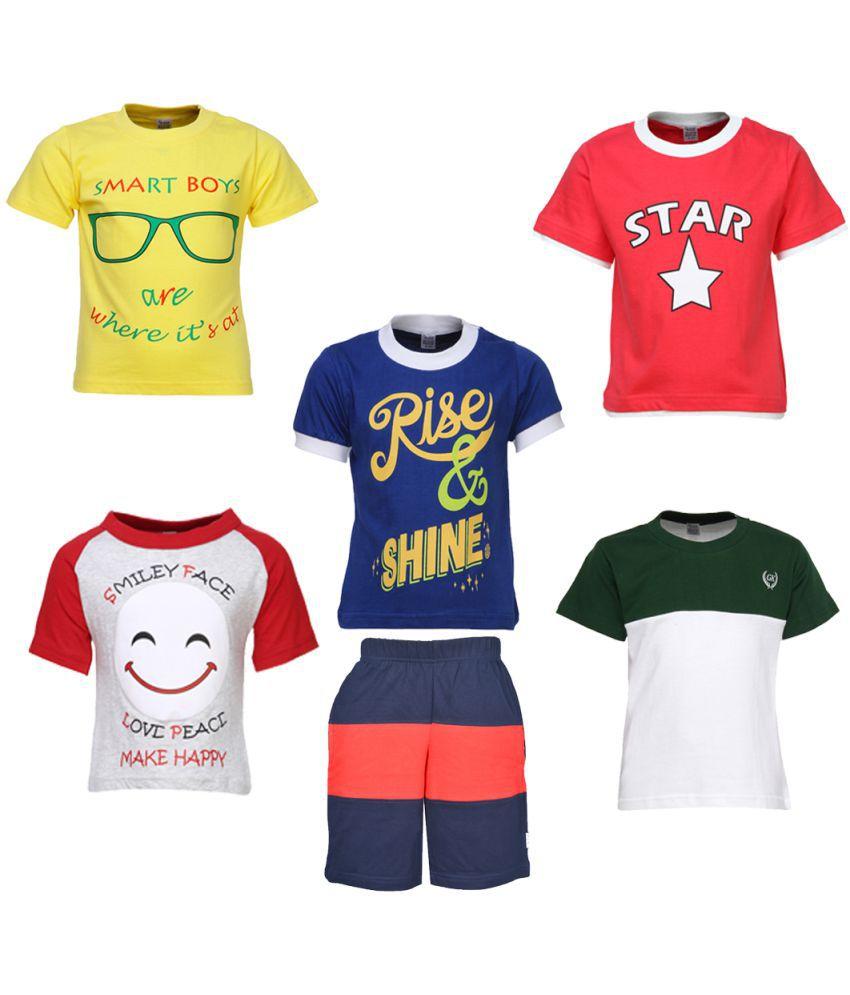 Gkidz Boys Pack of 5 Half Sleeve T-shirts and Bermudas