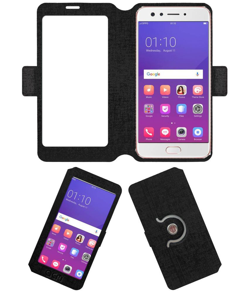 Oppo F3 Diwali Limited Edition Flip Cover by ACM - Black