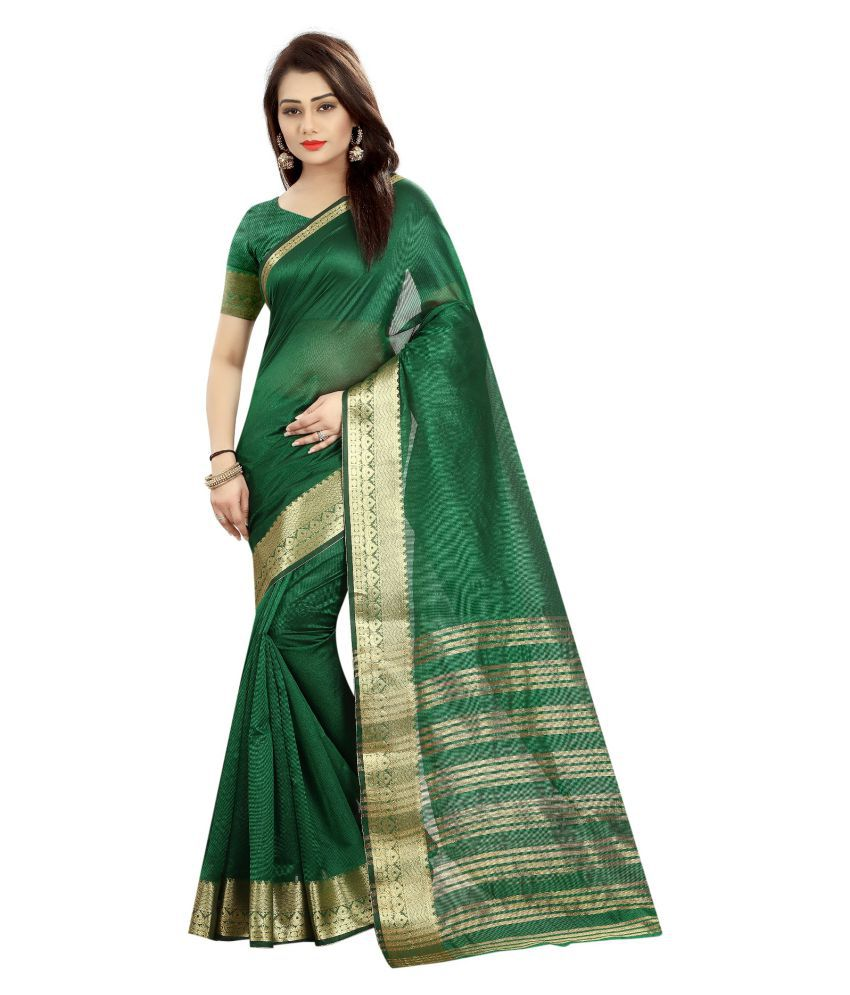 Fstore Green Cotton Silk Saree