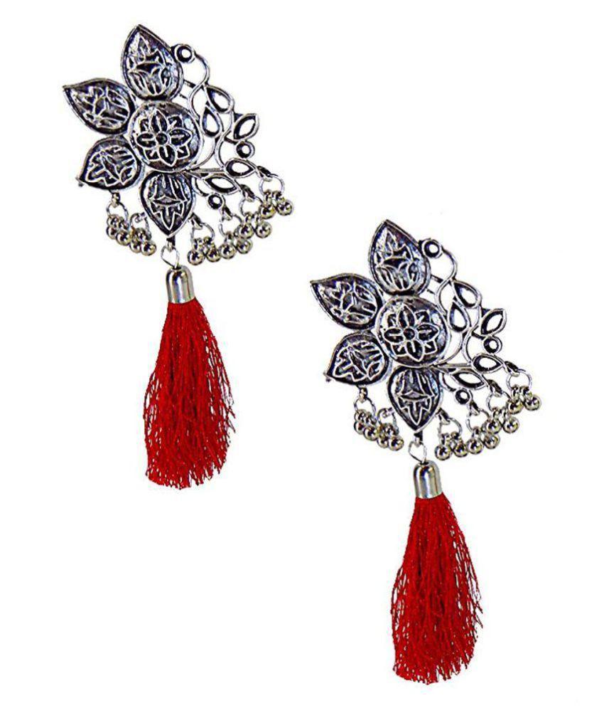 German Silver Red Colour Oxidized Afgani Earrings