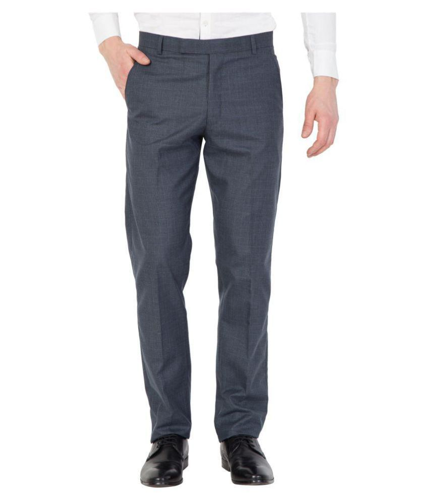 American-Elm Blue Slim -Fit Flat Trousers