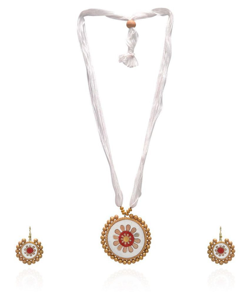 RAI COLLECTION White Terracotta Strand Necklace Set for Women