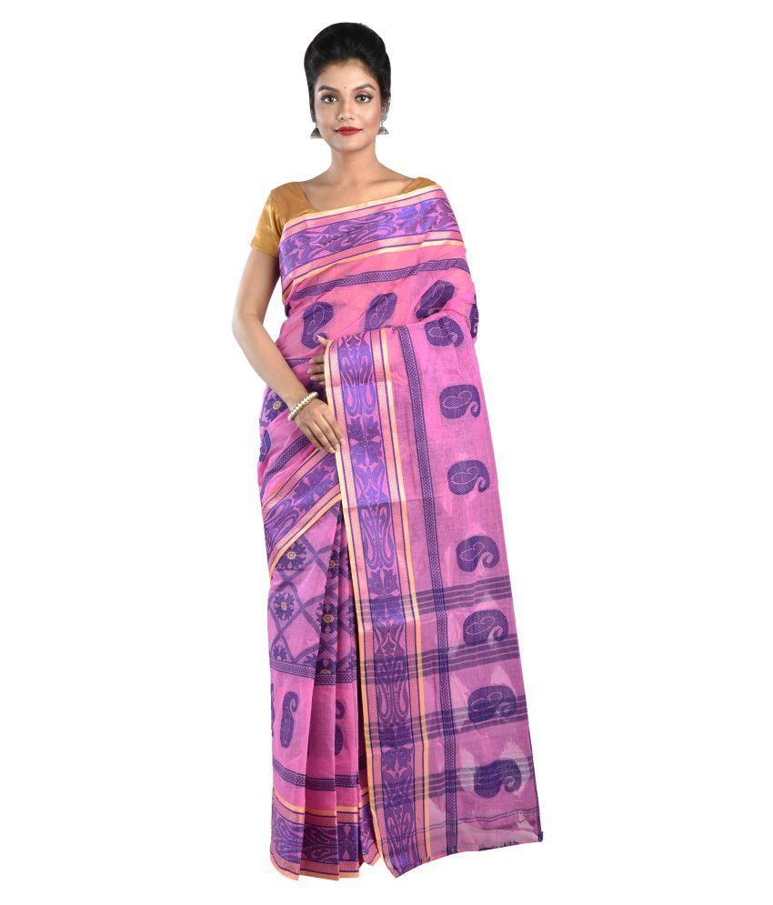Loom&Crafts Pink Cotton Saree