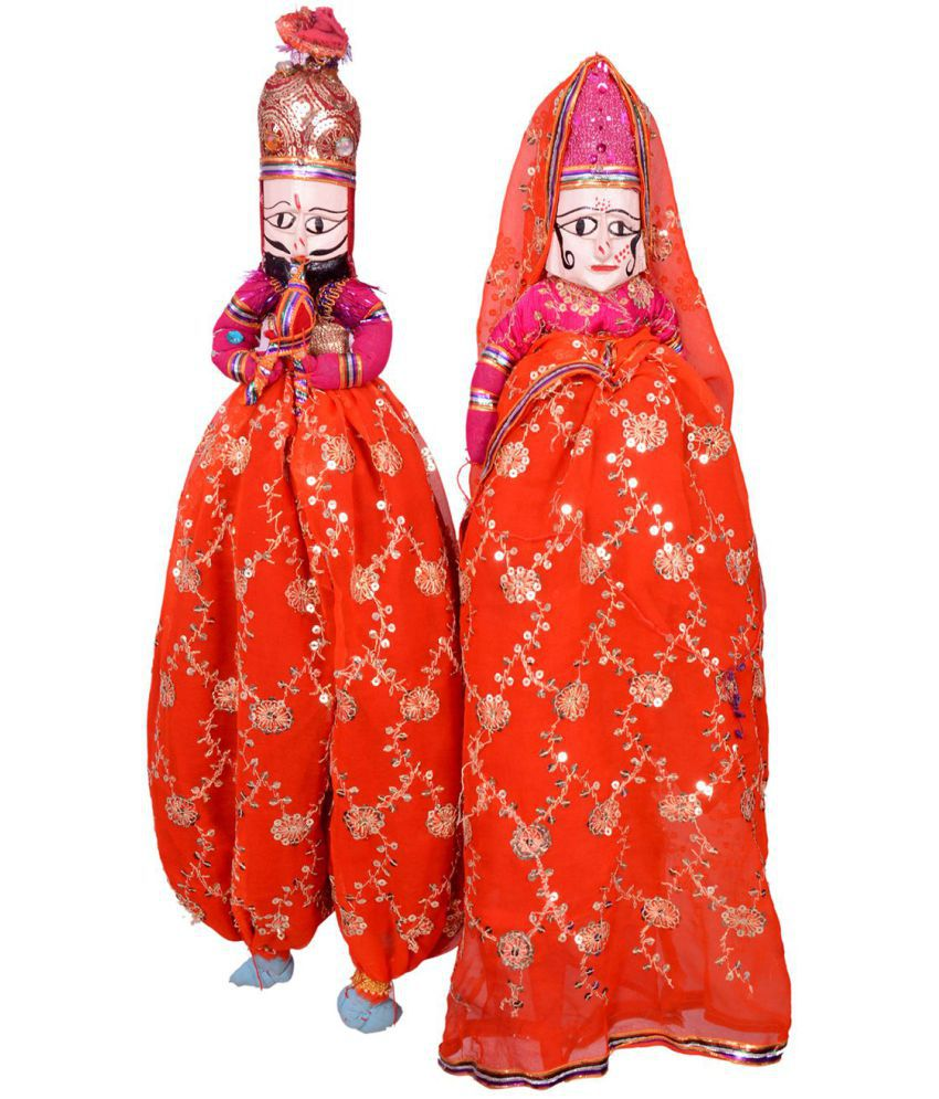 Apratim Fabric Puppet Dall Wall Sculpture Red - Pack of 1