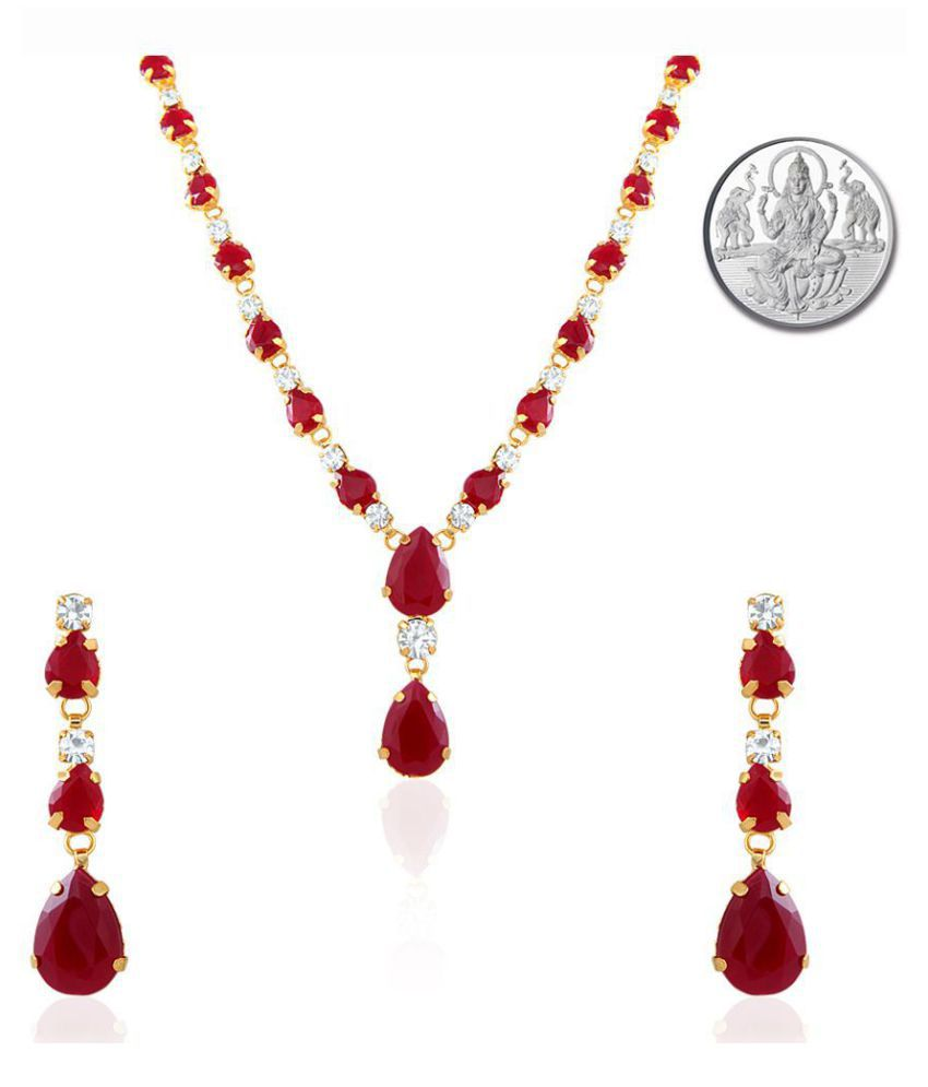 Mahi Oviya Gold Plated Red Charismatic Necklace Set With Silver Laxmi Coin nl2103114gci