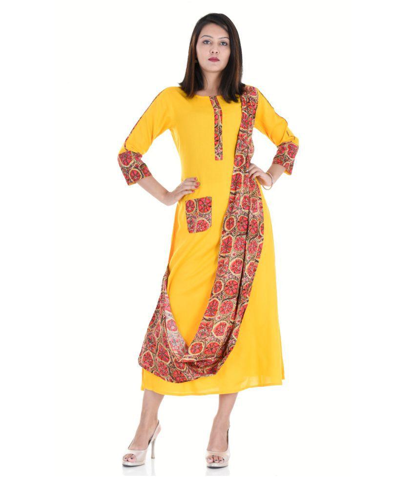 MR Fashion Yellow Rayon A-line Kurti