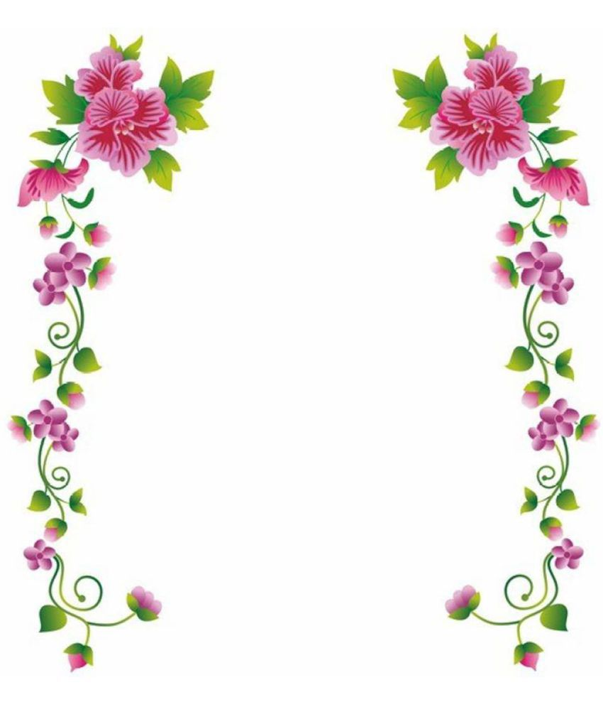 Stickerskart Pink Flower Vines Vinyl Home Decoration