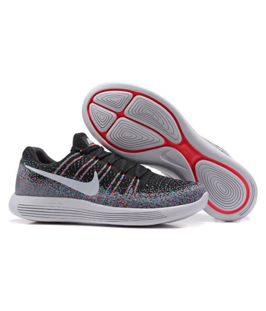 new concept e39f3 286d4 Nike LunarEpic Low Flyknit 2 Black Multi Color Training Shoes