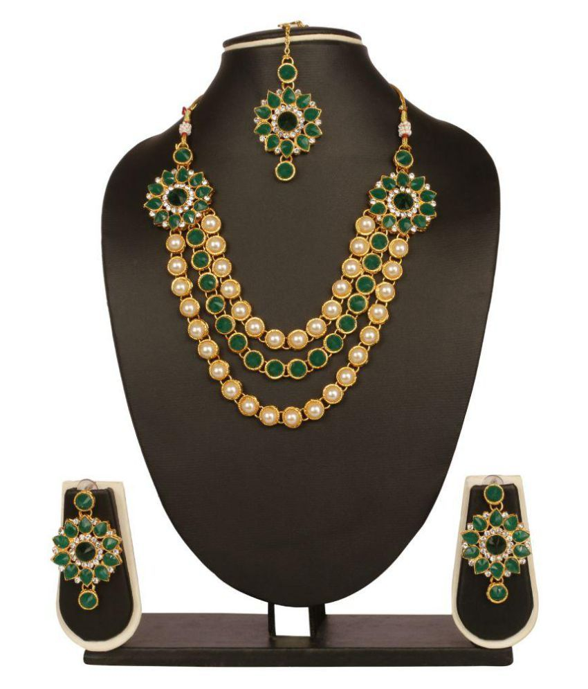 Adoreva Gold Green Crystal Kundan White pearl Bollywood Fashion Necklace Earring  Maang Tika Set