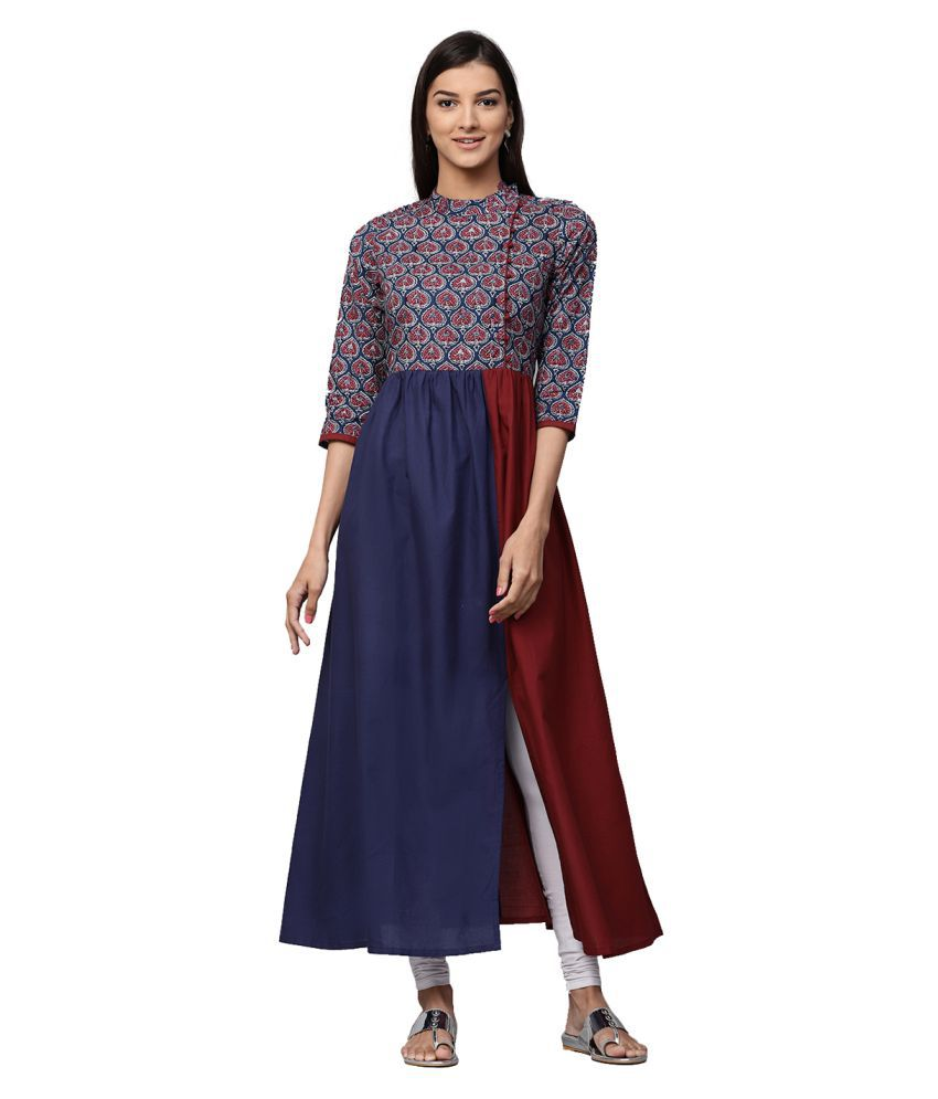 7fbf063b8 Jaipur Kurti Blue Cotton A-line Kurti - Buy Jaipur Kurti Blue Cotton A-line Kurti  Online at Best Prices in India on Snapdeal
