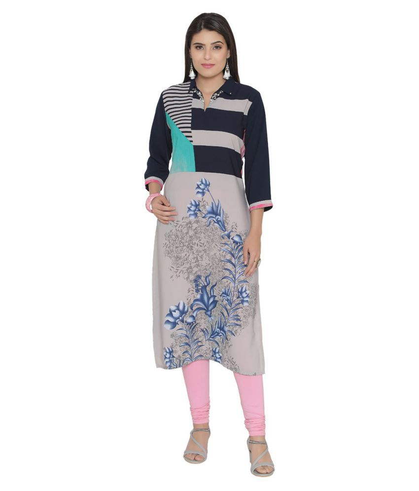 Shree Grey Crepe Straight Kurti