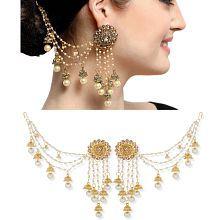 The Luxor Traditional Gold Plated Bahubali Devsena Pearls Jhumki/Jhumka Hair Chain Earrings for Women and Girls