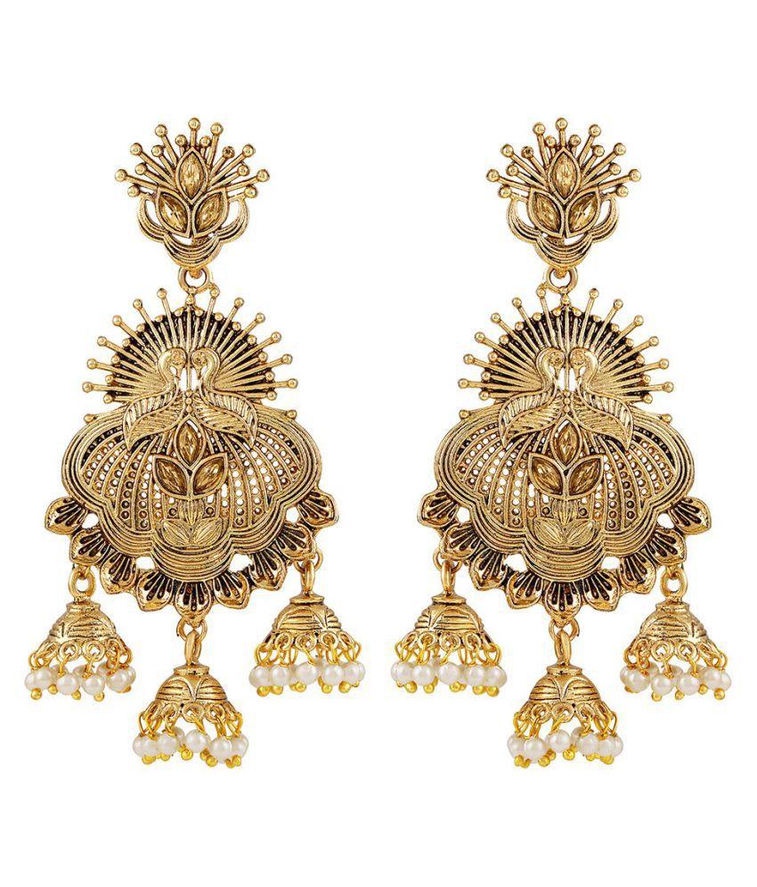 Asmitta Lavish Peacock Gold Plated Jhumki Earrings For Women