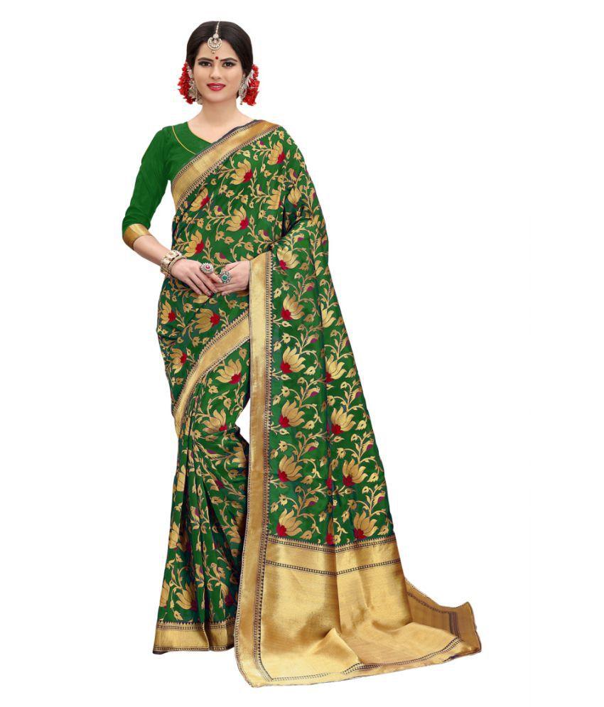 Edeal Online Green and Beige Banarasi Silk Saree
