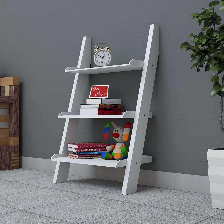 Onlineshoppee Escalera Leaning Bookcase Showcase Ladder