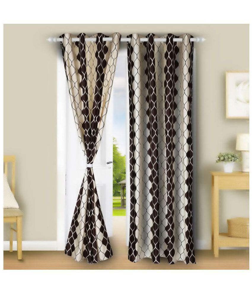 E-Retailer Set of 2 Door Eyelet Curtains Floral Brown