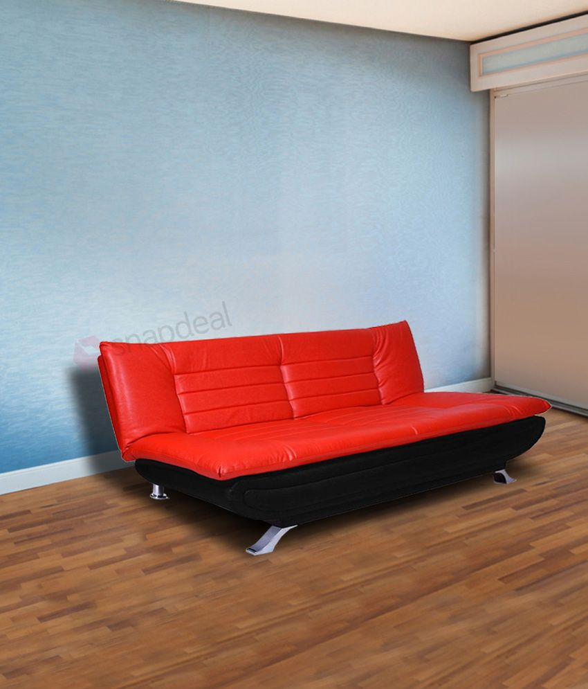 elite three seater leatherette sofa cum bed folding bed red buy rh snapdeal com