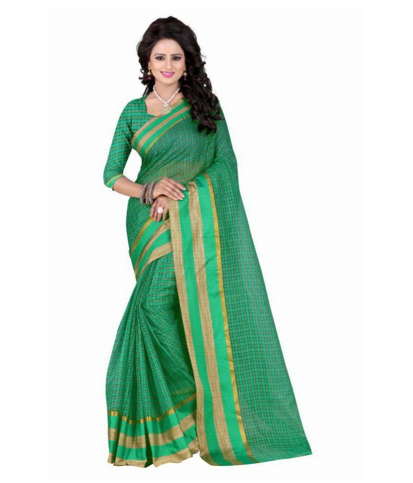 Kanha Fashion Green Polycotton Saree