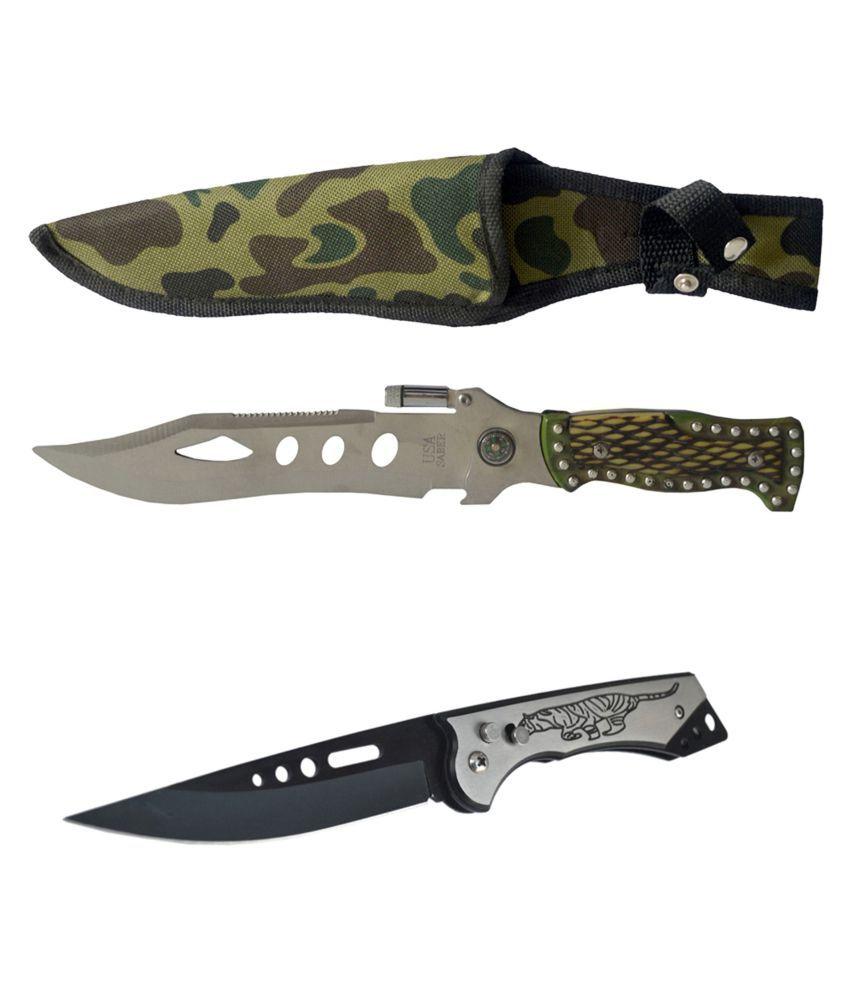prijam Knife NM-007 (18cm) Model & SS-007(10cm) Model Pack of 2 Knife for Camping Hiking