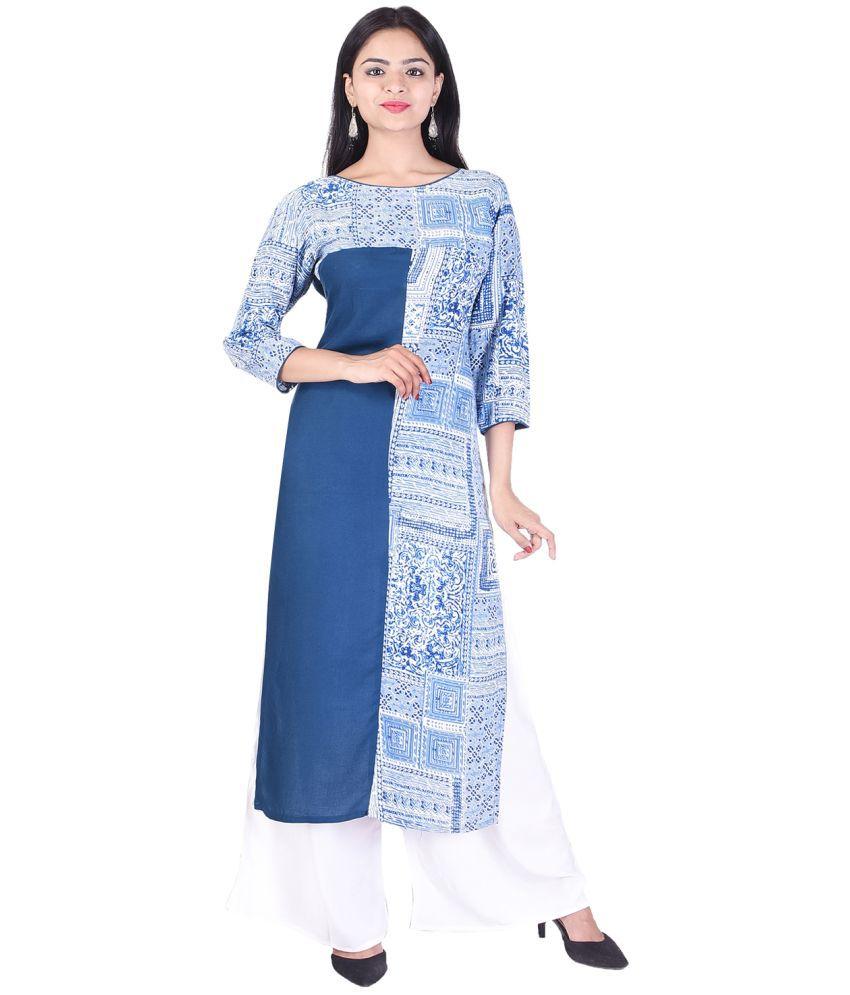 EMPRAL Blue Cotton Straight Stitched Suit