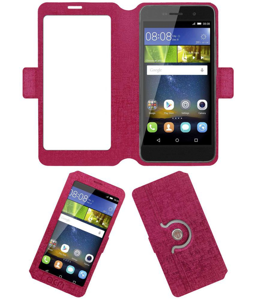Huawei Honor holly 2 plus Flip Cover by ACM - Pink