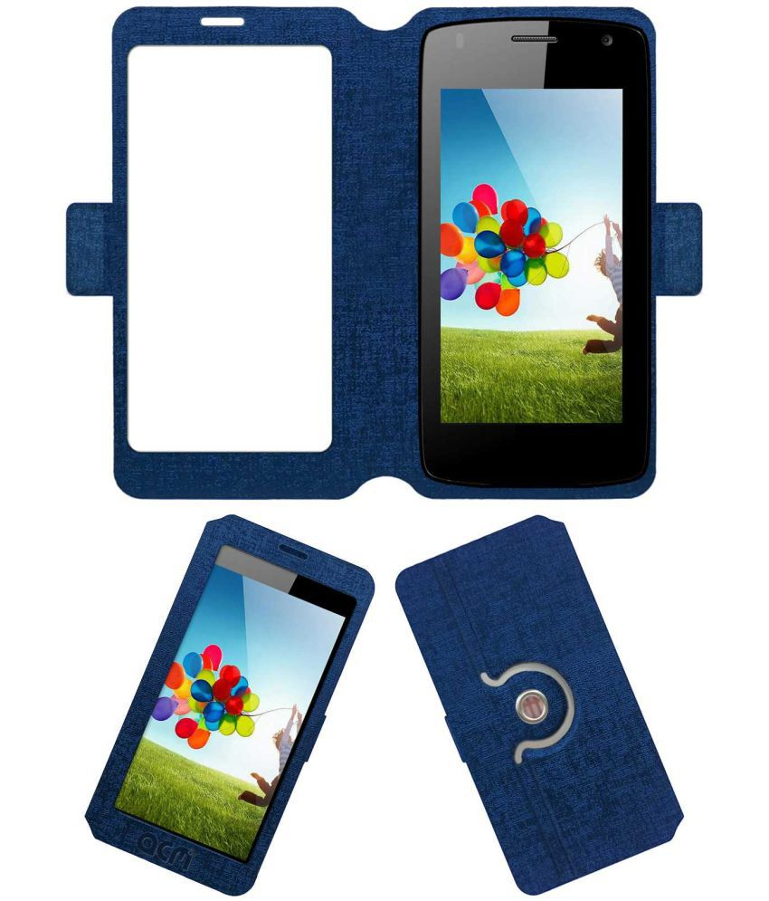Micromax Canvas Beat A114r Flip Cover by ACM - Blue