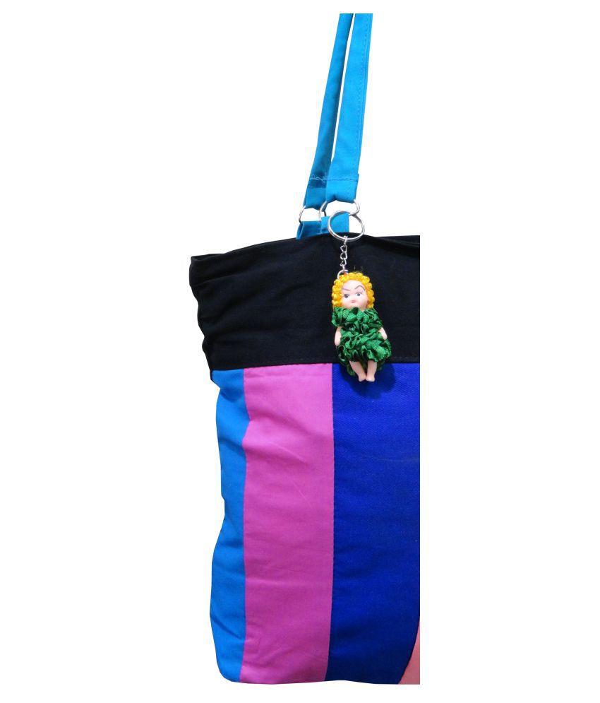 88218c0d2055 ... Atorakushon® Multipurpose Carrying Case Women s Elegance Ethnic Cotton  with small Teddy key Ring Style Handbag ...