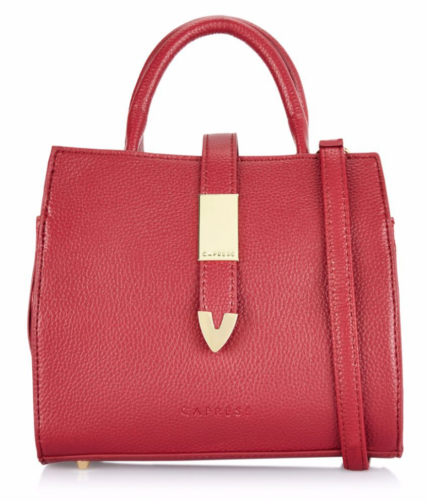 Caprese Red Faux Leather Sling Bag