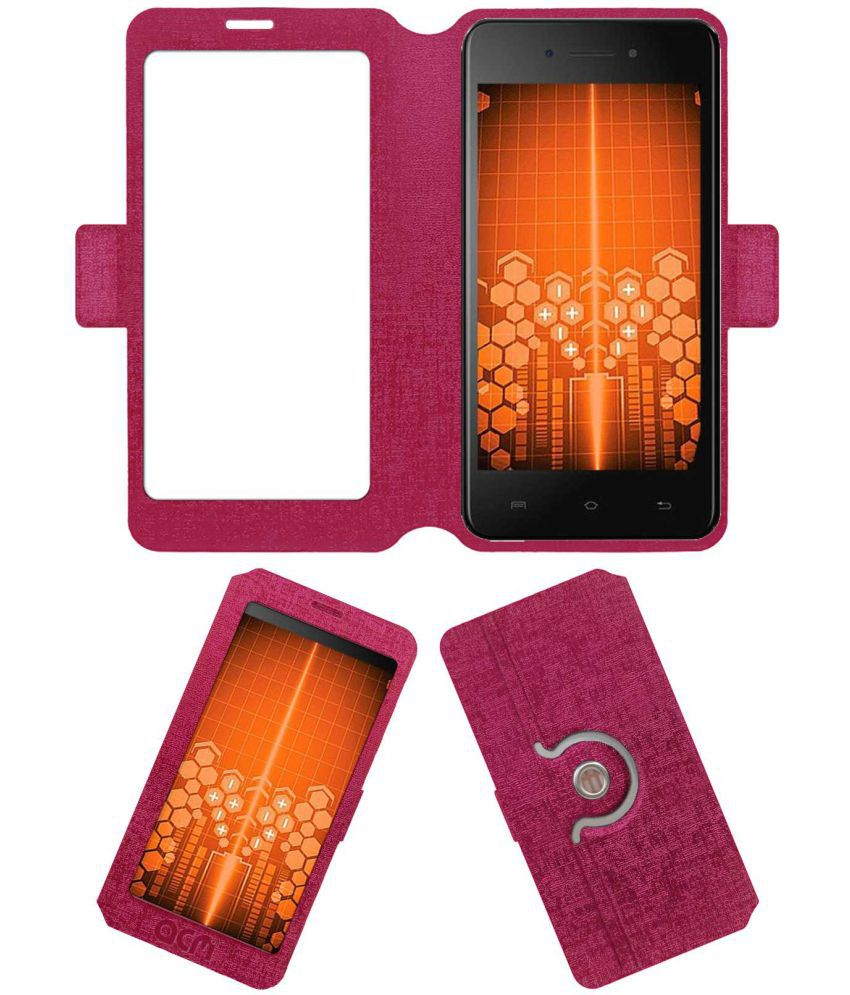 Micromax Bharat 5 Flip Cover by ACM - Pink
