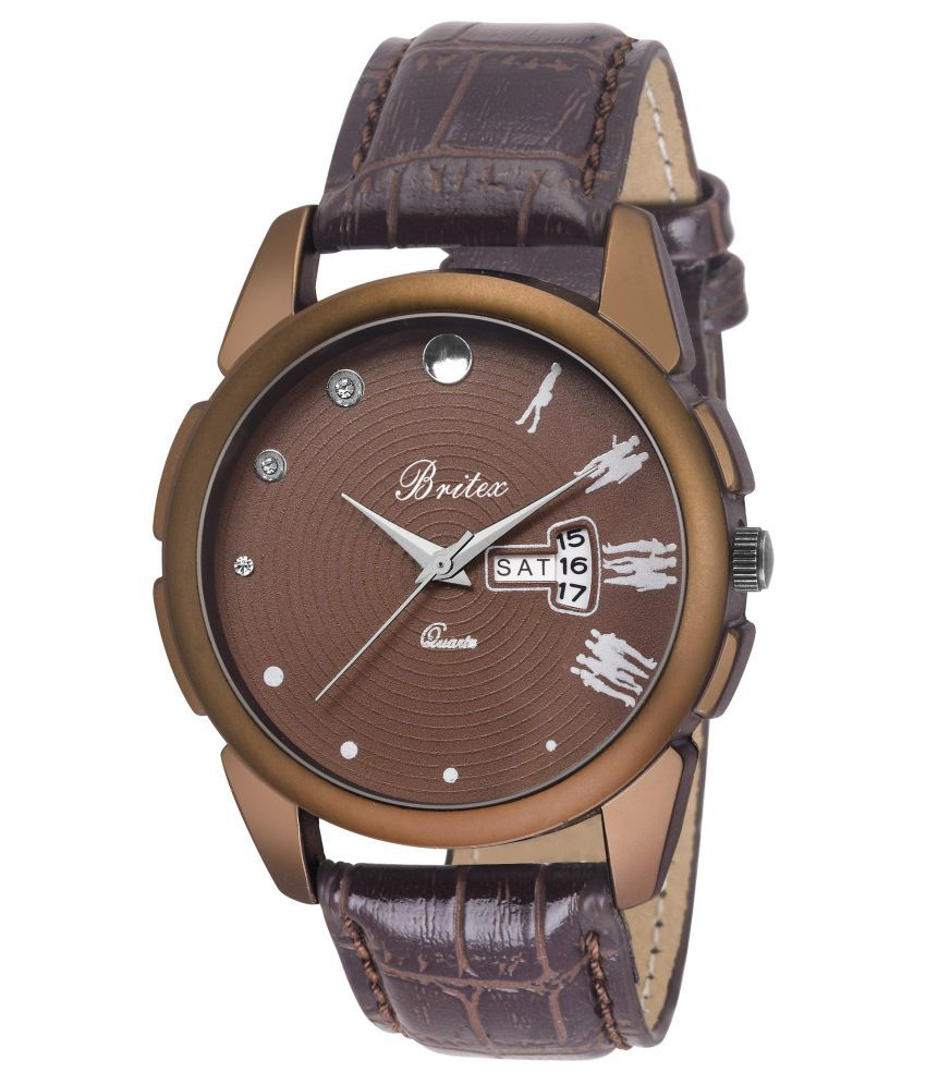 Britex Day and Date Functioning Movado Dial Leather Strap Antique Watch for Men/Boys