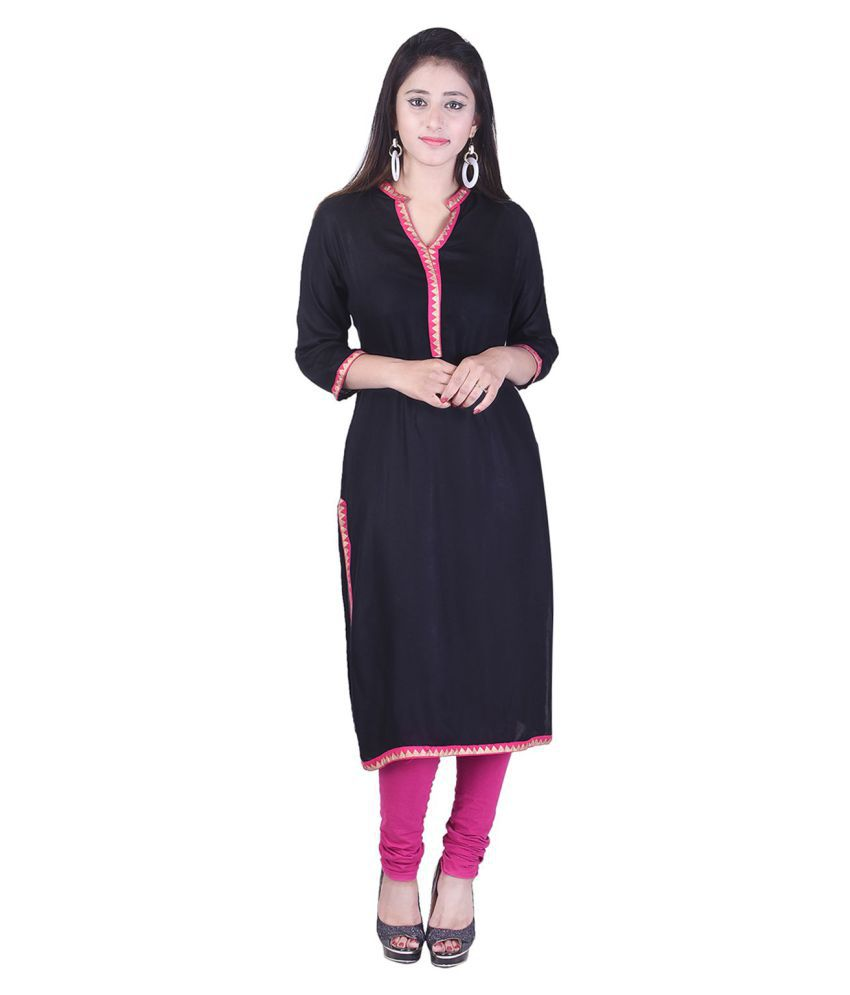 ClickIT Black Cotton Straight Kurti