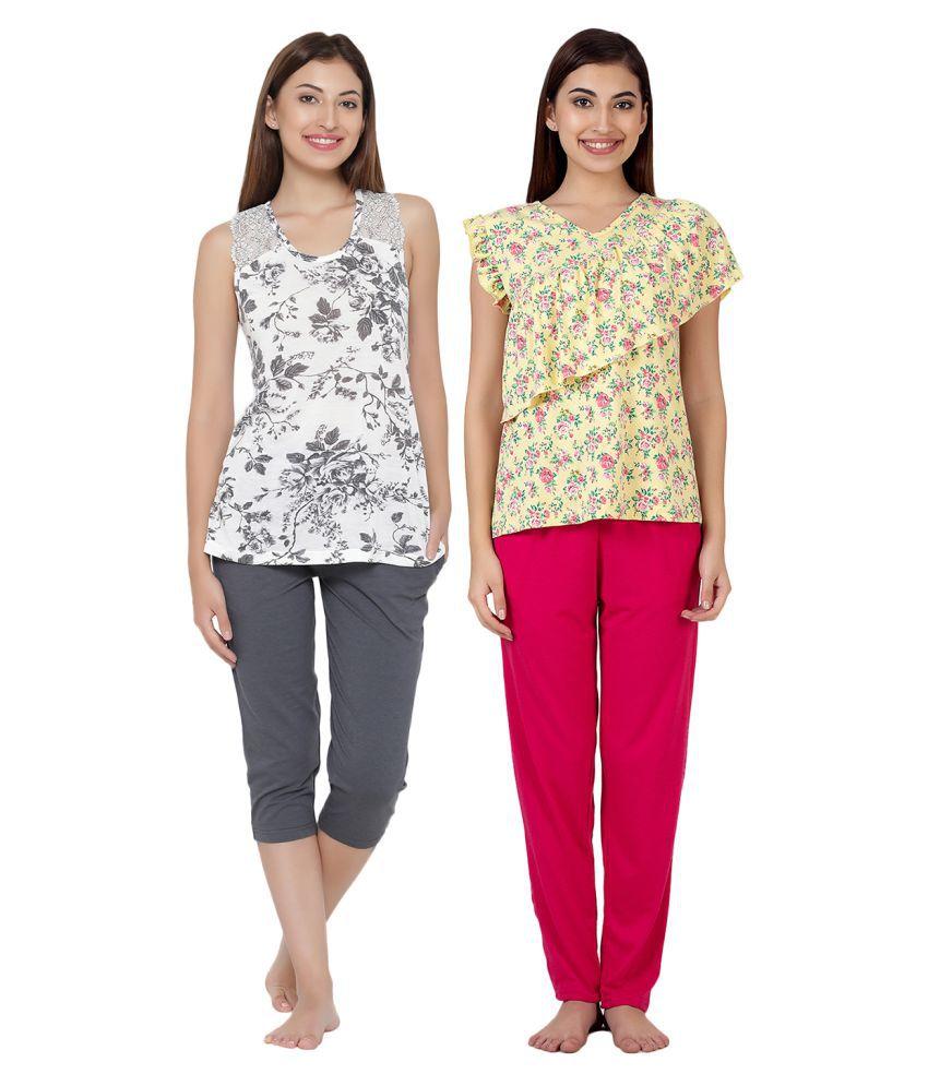 Clovia Poly Cotton Nightsuit Sets - Multi Color