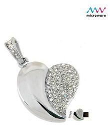 Microware Silver Heart 16GB USB 2.0 Fancy Pendrive Pack of 1