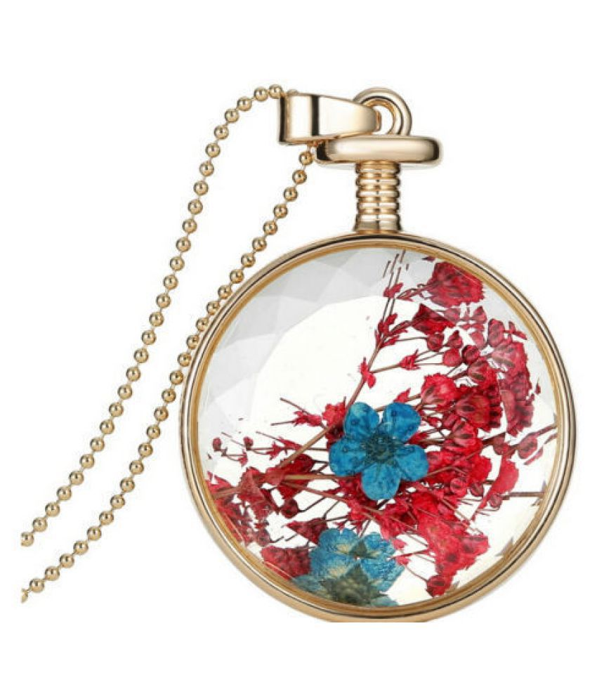 Women real dried flower pendant necklace chain buy online at low women real dried flower pendant necklace chain mozeypictures Choice Image