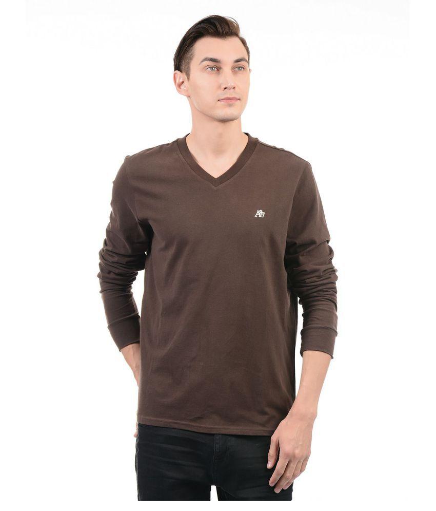 Aeropostale Brown V-Neck T-Shirt