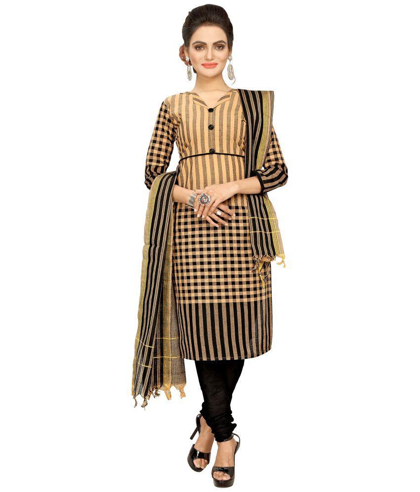 Minu Brown Cotton A-line Stitched Suit