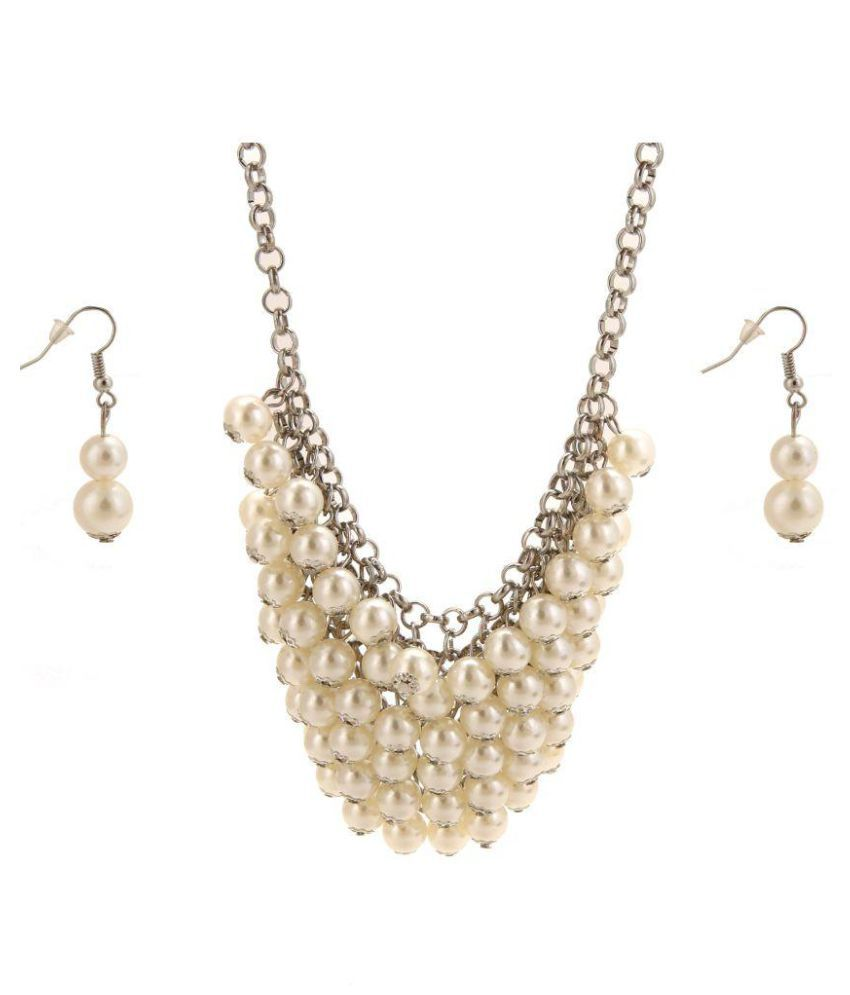 Silver Chain  White pearl Collar  Necklace With Double Pearl One Pair Earrings Set