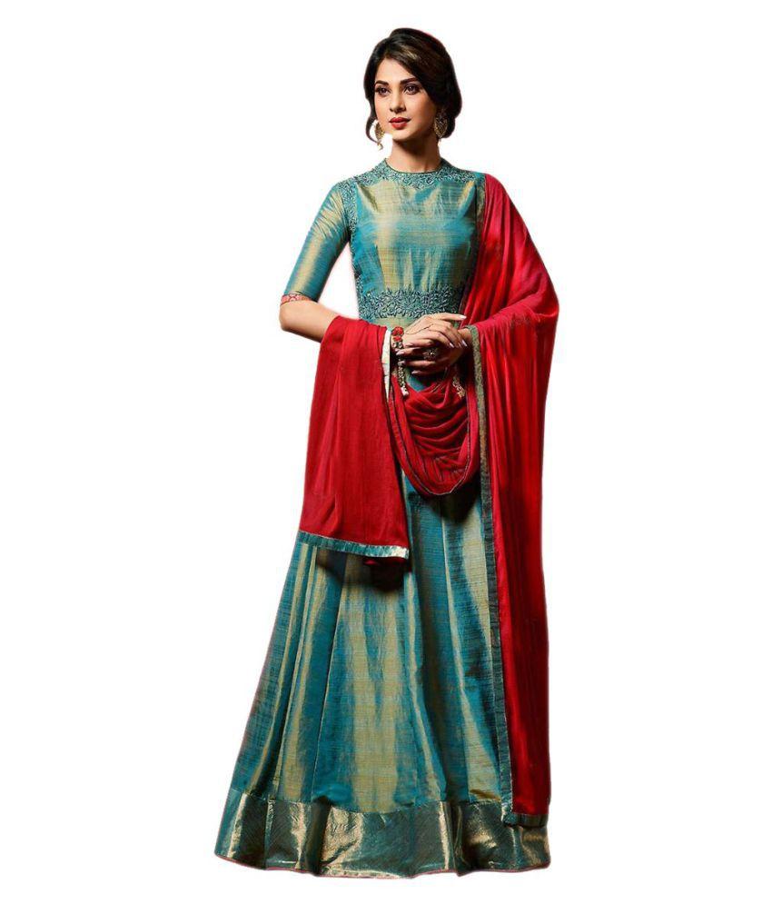 1182573260 New Designer Jennifer Winget Teal Blue Banarasi Silk Anarkali Suit for Party  Wear Girls, free size - Buy New Designer Jennifer Winget Teal Blue Banarasi  ...