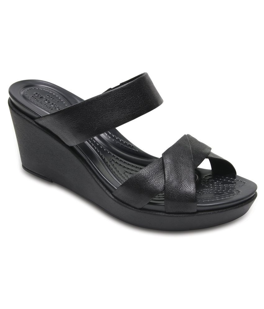 Crocs Black Wedges Heels