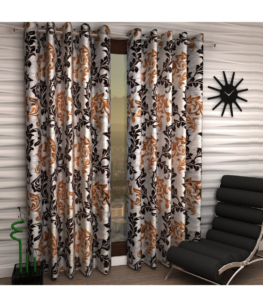 Home Sizzler Set of 2 Window Eyelet Curtains Floral Brown