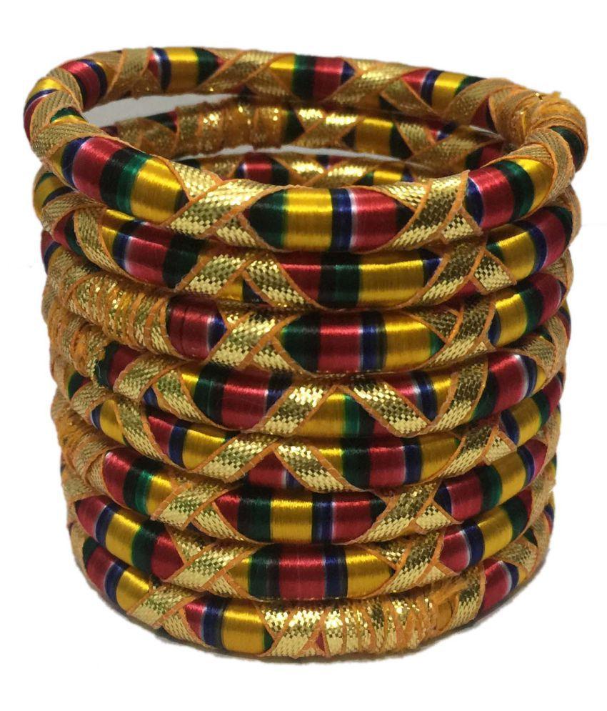 Tingoking Beautiful Gota Cross MultiColor Silk Thread 8Pcs Bangle Set For Women/Girls (Mehandi/Haldi/Wedding/Bridal)