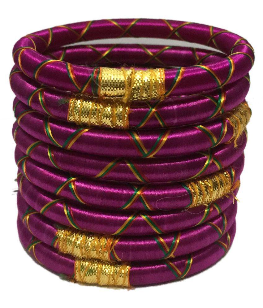 Tingoking Stylish and Beautiful Resham Cross Silk Thread 8Pcs Bangles Set For Women/Girls (Mehandi/Haldi/Wedding/Bridal)