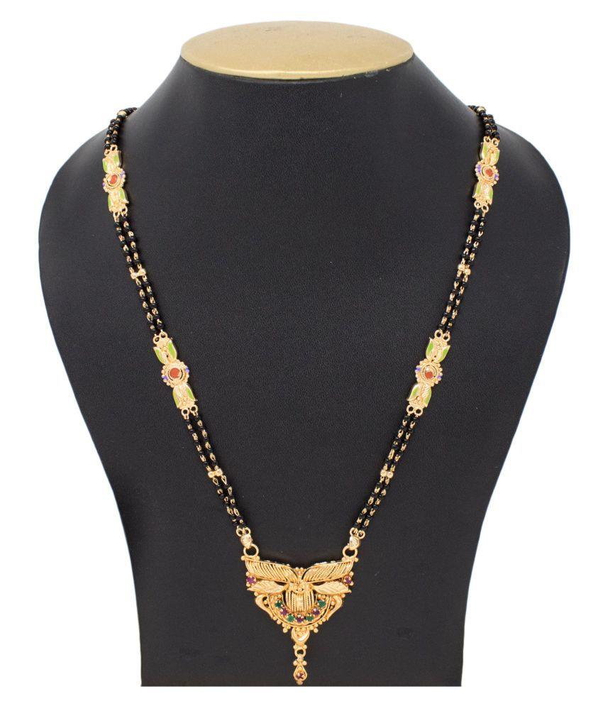 IMC DEALS Indian Mangalsutra 22K Gold Plated Black Beads 28