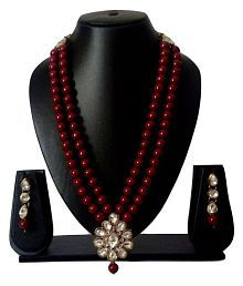 Catalyst Maroon Pearl Necklace Set With Earrings For Women 208M