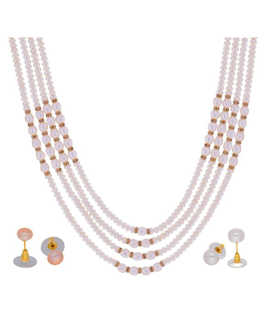 Jasmine White Oval and Of Round Pearl Necklace of 4 Lines for Women by KNK Jewellery