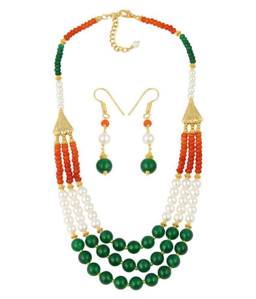 Pearl Necklace Set of Taiwan Pearls, Carnelian and Jade in Gold Plating