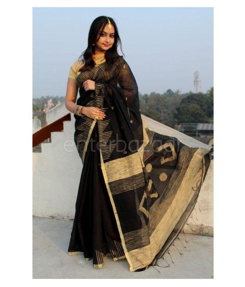 Eb Collection Black Gicha Saree